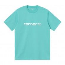 Camiseta Carhartt S/S Script Bondi/White